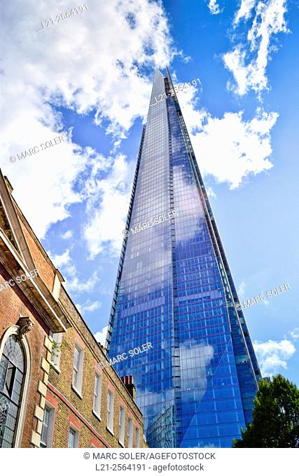 The Shard building, tallest building in the European Union, designed by Renzo Piano. London, England, United Kingdom