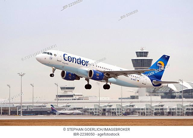 Condor Airbus A320-212 airplane during takeoff from Munich Airport, Bavaria, Germany, Europe