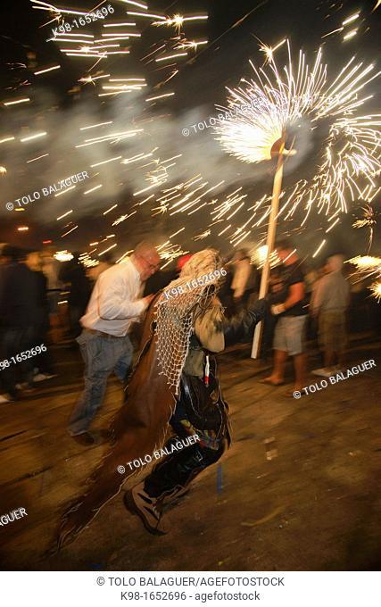 'Correfoc', Feast of Feasts fire demons and Sant Joan Palma Mallorca Balearic Islands Spain