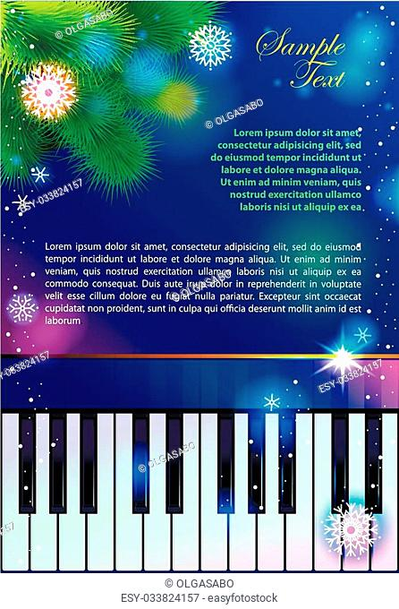 Background with piano and New year tree. Place your text inside. You can use elements separately. Free fonts used - Liberation Sans