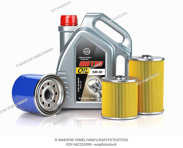 Motor oil canisters and car oil filter isolated on white background. Auto service and car maintenance concept. 3d illustration