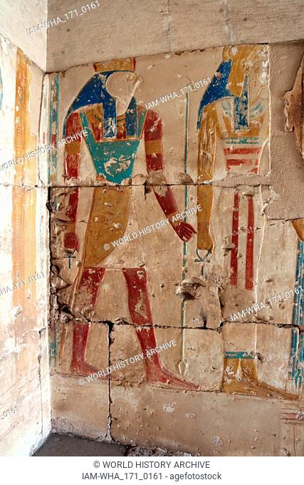 Abydos, one of the oldest cities of ancient Egypt; Goddess Isis and god Horus