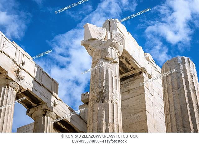 Close up on monumental gateway called Propylaea, entrance to the top of Acropolis of Athens city, Greece