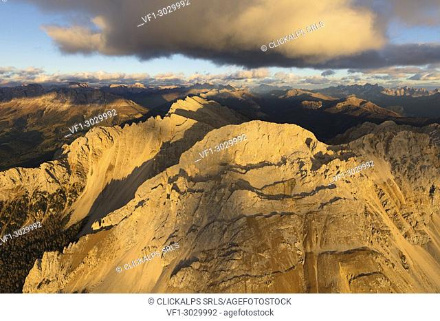 Aerial view of Latemar massif at sunset, Dolomites, South Tyrol, Italy