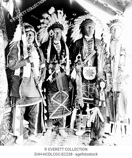 Four Nez Percé Indians, dressed for dance, on Colville Indian Reservation, ca. 1910