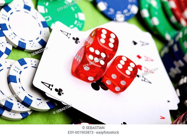 Dice on cards in casino