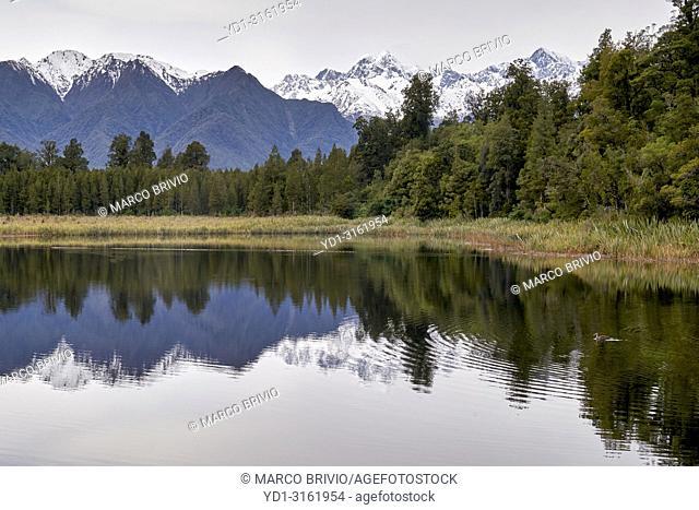 Lake Matheson, Mount Tasman and Mount Cook. West Coast, New Zealand