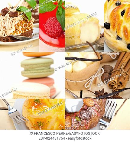 fresh colorful delicious homemade dessert cake selection composition collage