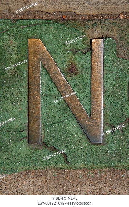 Metal Letter N in Green Marble