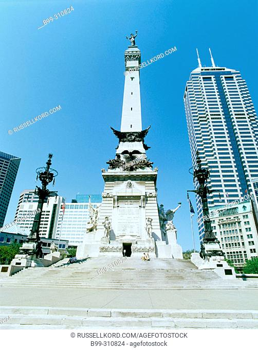 Soldiers And Sailors Monument In Downtown Indianapolis. Indiana, USA