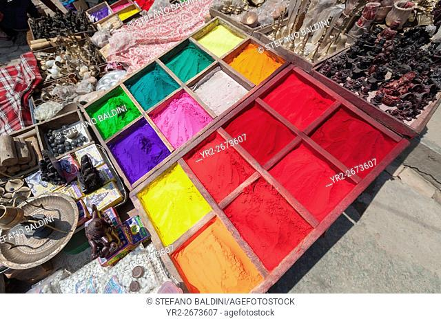 Multicoloured powder paints on sale near Pashupatinath temple, Kathmandu, Nepal