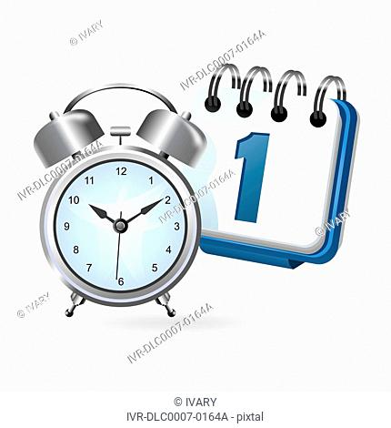 Illustration of alarm clock with calendar