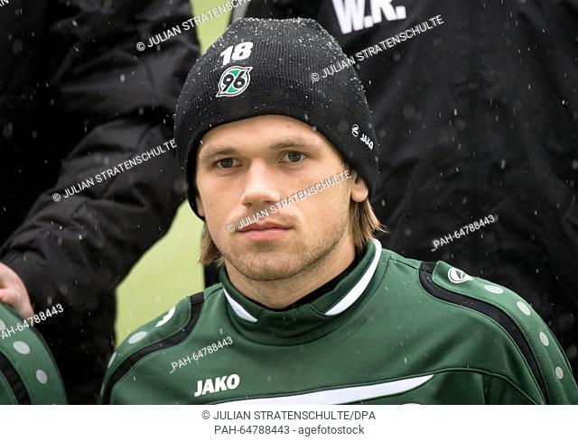 New entry Iver Fossum of German Bundesliga soccer club Hannover 96 poses for a group photo with team mates at the begining of the new year's first training...