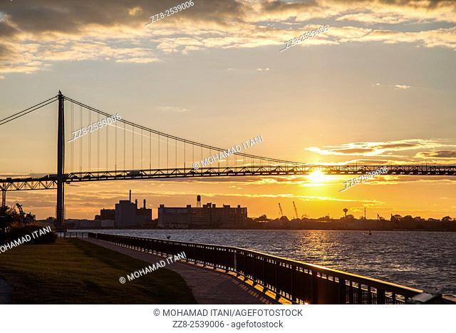 The Ambassador bridge across the Detroit river between Michigan USA and Windsor Canada