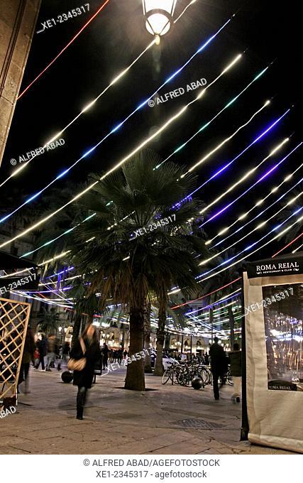 Plaça Reial at night, Christmas lights, Barcelona, Catalonia, Spain