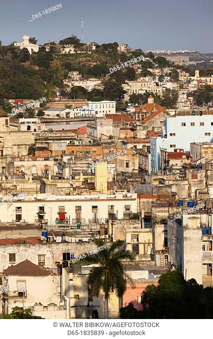 Cuba, Havana, elevated city view above Havana Vieja, Old Havana, late afternoon