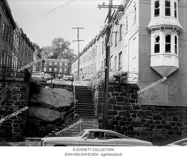 Yonkers, New York, ca. 1980. Moquette Row Housing, are 18th century industrial housing built for workers of Moquette Textile Mills in the 1880's