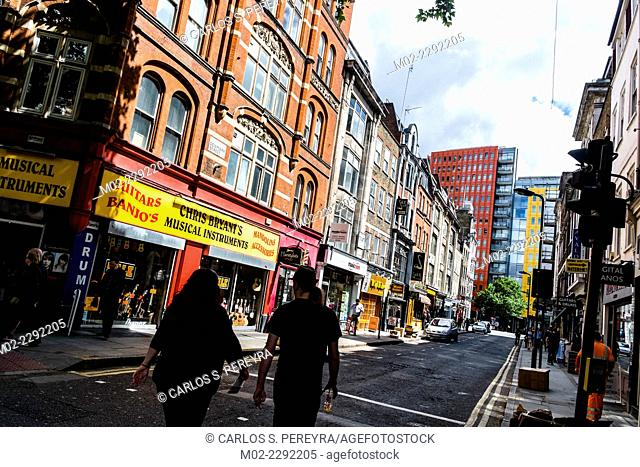 Denmark Street. Since the 1950s it has been associated with British popular music. London, UK, England