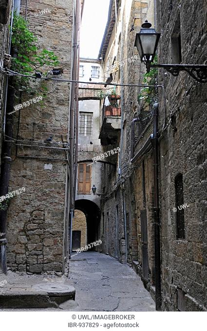 View in a side street in the historic city centre of Volterra, Tuscany, Italy, Europe
