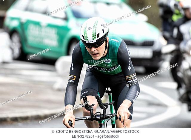 Alexander Aranburu Deba at Zumarraga, at the first stage of Itzulia, Basque Country Tour. Cycling Time Trial race