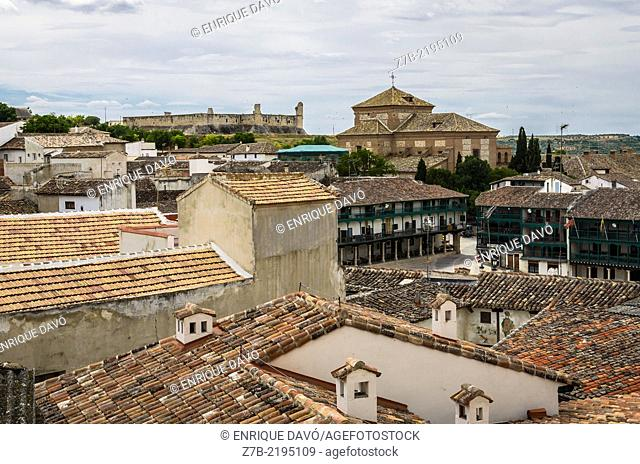 View of the castle and church in Chinchon village, Madrid province, Spain