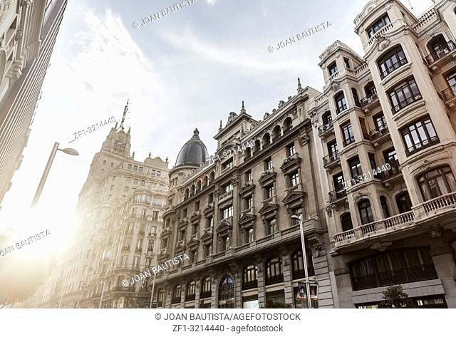 Street view, facade building in Gran Via, Madrid
