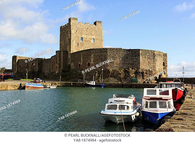 Carrickfergus, Co Antrim, Northern Ireland, UK, Europe  View across the water to the 12th century Norman castle on Belfast Lough