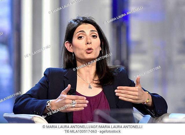 Mayor of Rome Virginia Raggi during the tv show Porta a porta, Rome, ITALY- 09-05-2017