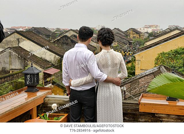 Love on the rooftop, historic old district, Hoi An, Vietnam