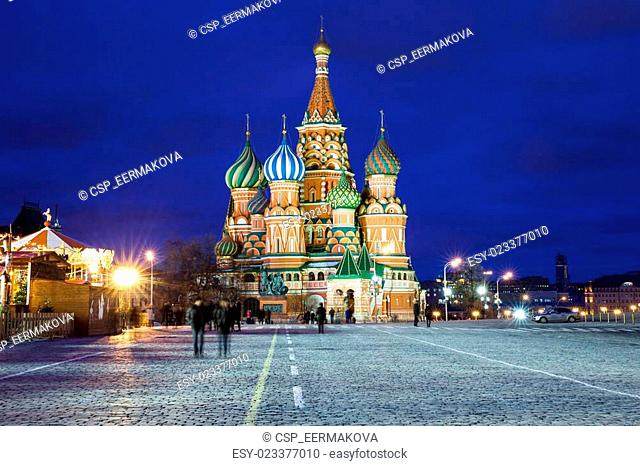 Moscow, Russia - 15 January, 2015: Saint Basil's Cathedral at night, national symbol of Russia, Red Square, Moscow