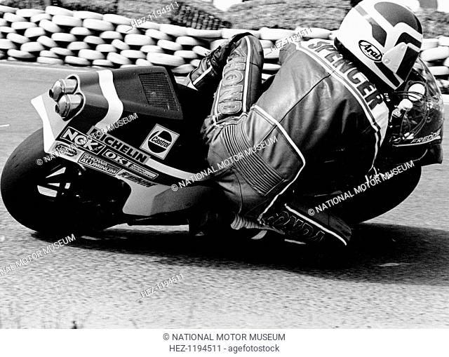 Freddie Spencer on a Honda NS500, Belgian Grand Prix, Spa, Belgium, 1982. Leaning over and practically touching the ground as he takes a corner