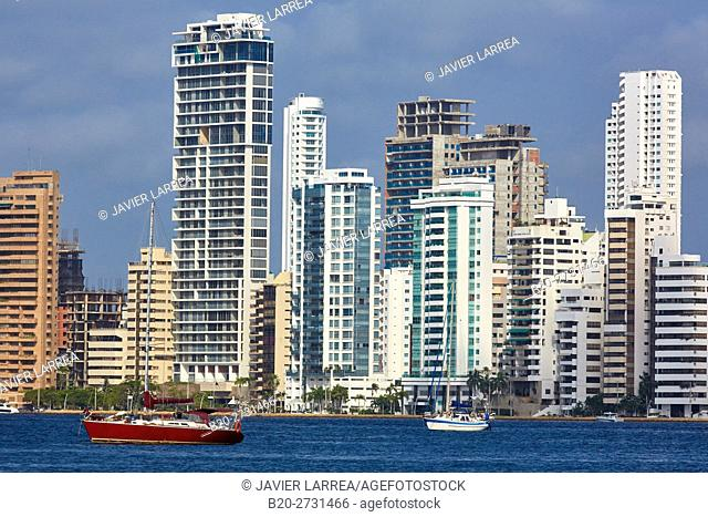 City waterfront, Bahia de Las Animas, Bocagrande, Cartagena de Indias, Bolivar, Colombia