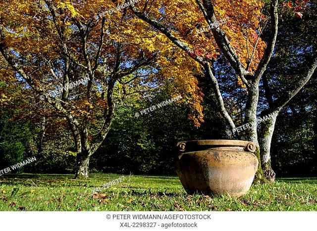 Old terracotta vase in the Palace Park Höhenried, Lake Starnberg, Bavaria, Germany