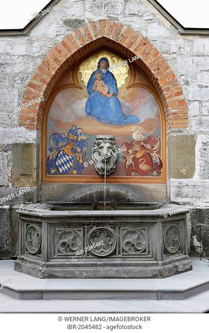 Marienbrunnen well, Schloss Hohenschwangau castle, Allgaeu, Bavaria, Germany, Europe