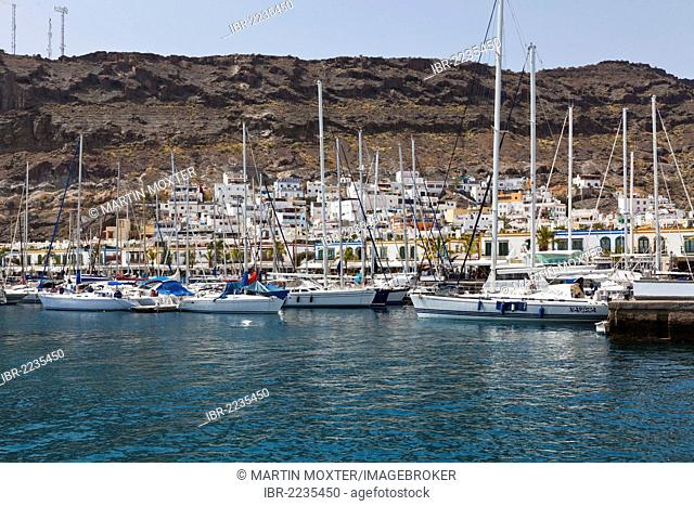 Sailing boats in the harbour, Puerto Mogan, Gran Canaria, Canary Islands, Spain, Europe, PublicGround