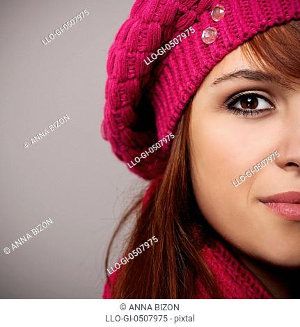 Close-up of woman in pink beret Debica, Poland