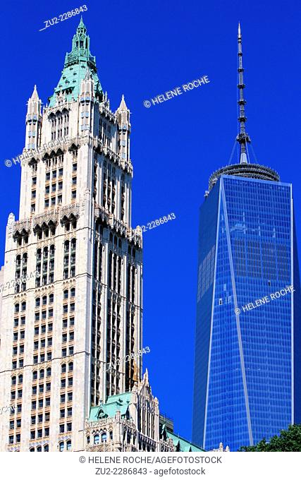 The One World Trade Center and the Woolworth building, New York City, USA