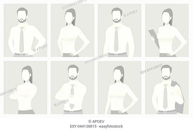 Default placeholder man and woman half-length portrait photo avatar. Businessman and businesswoman gray color