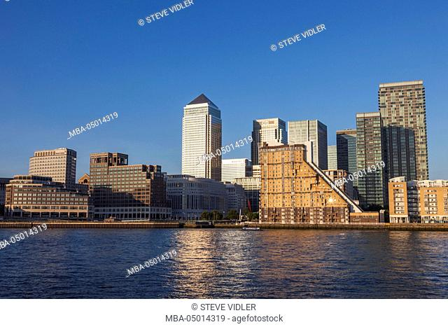 England, London, Docklands, Canary Wharf Skyline and River Thames