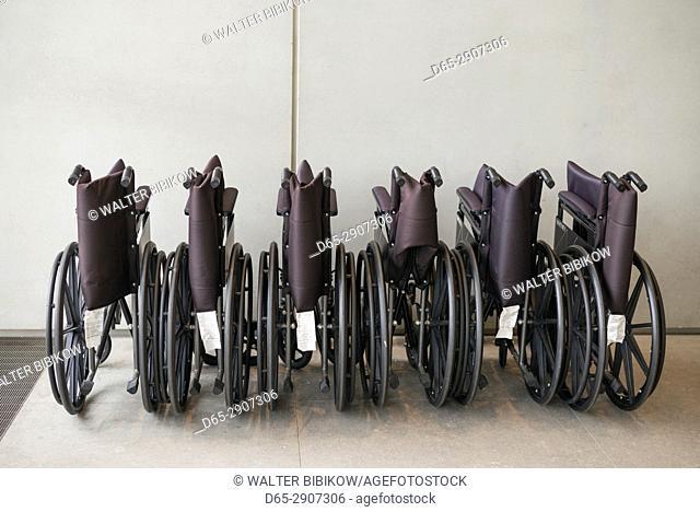 USA, New York, New York City, Lower Manhattan, The Whitney Museum, wheelchairs