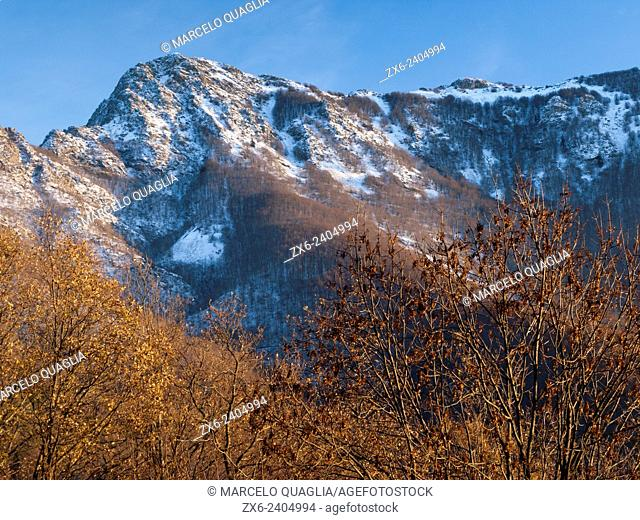 Winter arrival at Les Agudes Peak hillside. Montseny Natural Park. Barcelona province, Catalonia, Spain