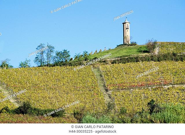 Italy, panorama of vineyards of Piedmont Langhe-Roero and Monferrato on the World Heritage List UNESCO Contini tower near Canelli