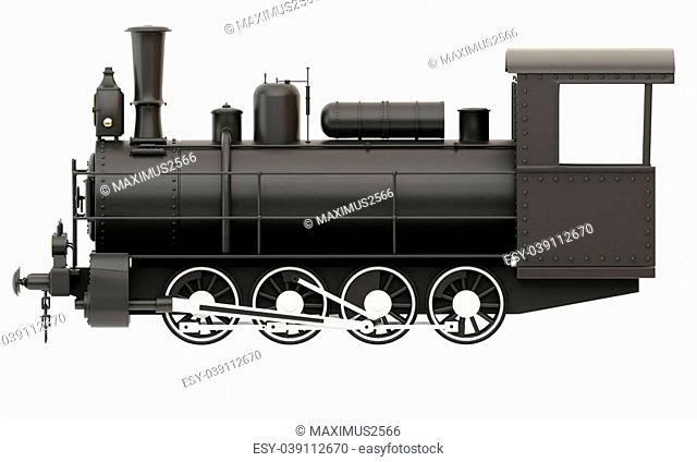 Old steam train isolated on white background