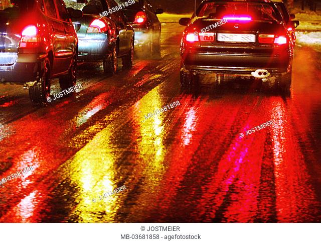 Germany, city, traffic, cars,, Jam, detail, tail-lights, winters,,  Evening Traffic, city traffic, Pkw's, vehicle, drives, Volume of traffic