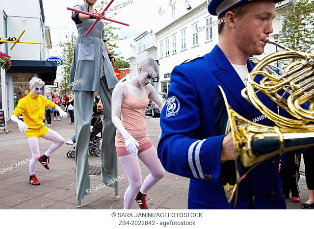 Artist street show in Laugavegur Street, Reykjavik, Iceland