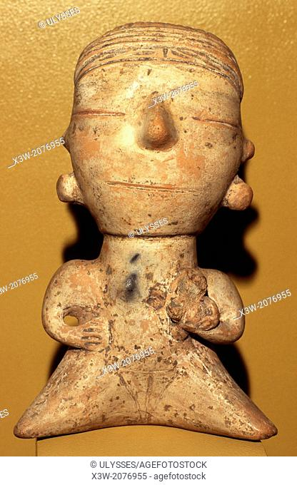 anthropomorphic statuette from santarem, emilio goeldi museum, belem, state of para, amazon region, brazil, south america
