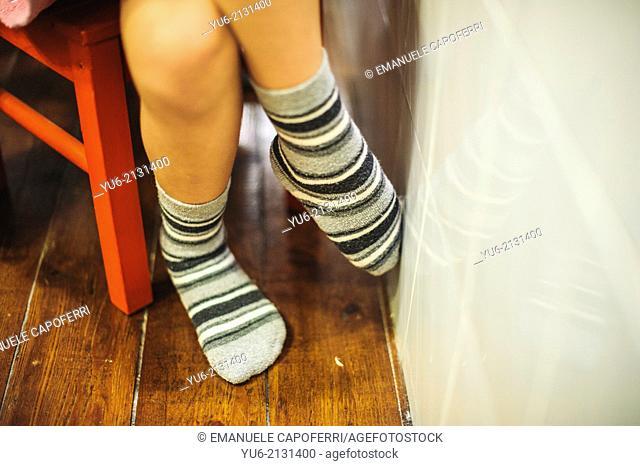 Baby feet with socks