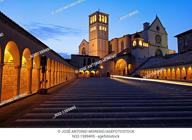 Assisi, Basilica di San Francesco, Basilica of Saint Francis at Dusk, UNESCO World Heritage site, Perugia province, Umbria, Italy
