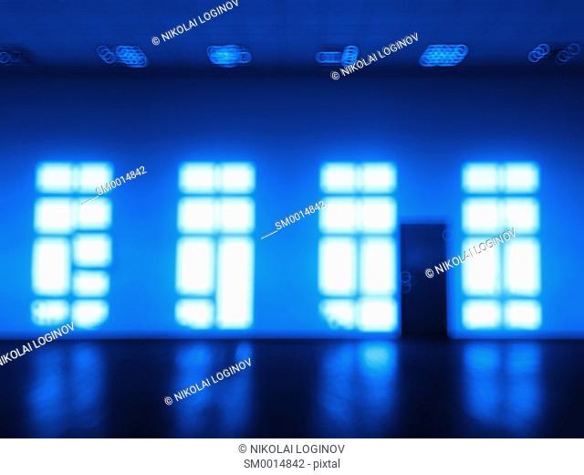 Blue room with multiple windows bokeh hd