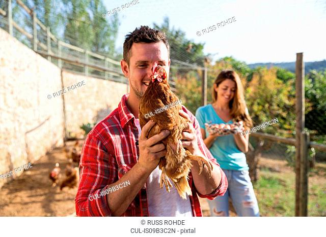 Portrait of organic farmer holding free range chicken